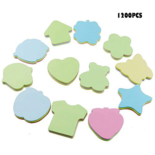 (Acmer 12 Different Shapes of Colorful Sticky Notes, Bundle Pack - 12 Pads 100 Sheets Per Pads A total of 1200)