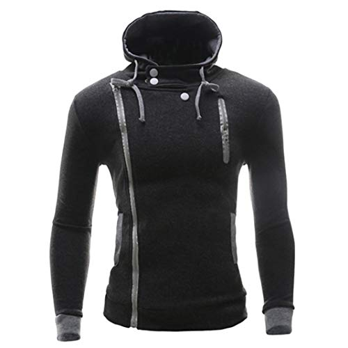 kaifongfu Men Hooded Top,Solid Color Autumn Winter Long Sleeve Button Slim Tops (Dark Gray,M) ()