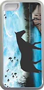 Rikki KnightTM Horse Silhouette on Blue Lake Design Design iPhone 5c Case Cover (Clear Rubber with bumper protection) for Apple iPhone 5c