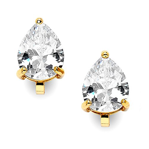 Mariell 2 Carat Clip-On Earrings with Pear-Shaped Cubic Zirconia Stud Solitaire - 14K Yellow Gold Plating