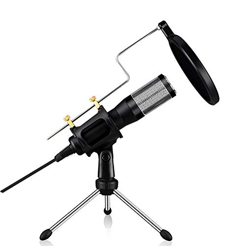 Auvem USB Microphone, Computer Condenser Studio Mic Plug and Play Home Studio Adjustable Conference Desktop Voice Chat Super Long Range Microphone, Play with Tripod Stand for Chatting (Black)