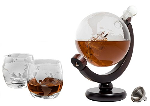 The Wine Savant Etched World Globe Decanter For Whiskey or Wine With Antique Ship And Matching Globe Glasses and Bar Funnel (Mahogany Stained Wood With 2 Globe Glasses)