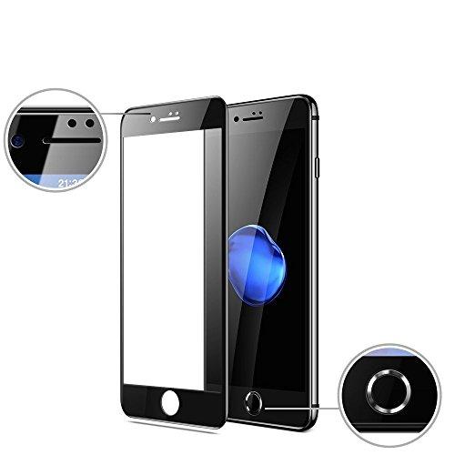 苛性不規則な無声でIPhone 7 Iphone 8 用 ガラスフィルム 強化ガラス 液晶保護フィルム 2018先端技術 6D曲面保護 3D Touch対応 6倍高強化 9Hスリム 防爆型 完全な表面保護 (Black)