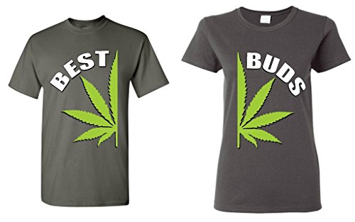 Shop4Ever Best Buds Pot Leaf Marijuana Weed Matching T-Shirts- Men Small Charcoal//Women Small Charcoal