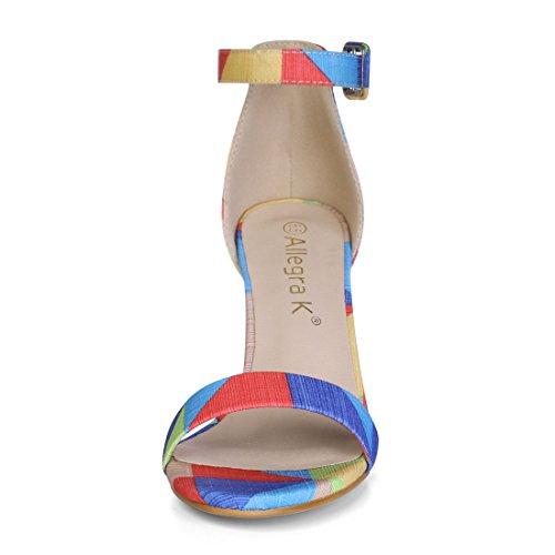 Allegra K Dames Dames Sandalen Met Drukknopen Meerkleurig