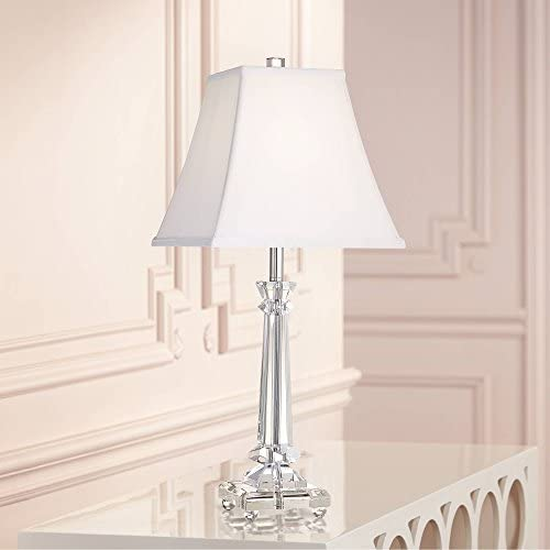 Traditional Table Lamp Crystal Glass Column White Square Bell Shade