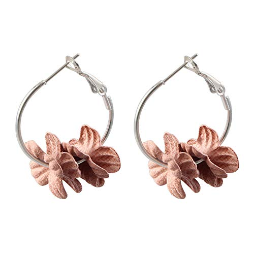 Fashion Fabric Flower Drop Earrings for Women New Statement Colorful Petal Circle Big Fancy Earring