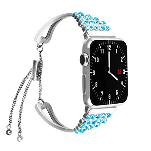Kybers Compatible for Apple Watch 4/3/2/1 38mm/40mm/42mm/44mm - Luxury Rhinestone Bracelet Stainless Steel Wristband Adjustable Strap for Apple Watch 4/3/2/1 -