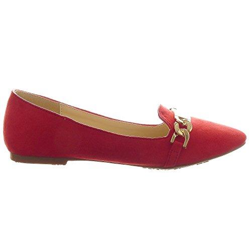 Sopily - Zapatillas de Moda Bailarinas Tobillo mujer Hebilla metálico Talón Tacón ancho 1 CM - Rojo