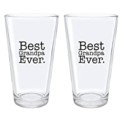 Christmas Gifts for Grandpa Best Grandpa Ever Fathers Day Gifts for Grandpa Gift Pint Glasses 2-Pack Pint Glass Set Clear