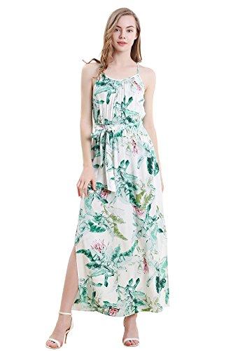 Vero Viva Womens Tropical Print Side Split Spaghetti Strap Maxi Dress with Belt(S,Green)