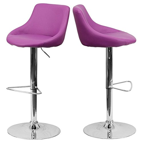 - Modern Design Bar Stool Bucket Seat Design Hydraulic Adjustable Height 360-Degree Swivel Seat Sturdy Steel Frame Chrome Base Dining Chair Bar Pub Stool Home Office Furniture - Set of 2 Purple #1985