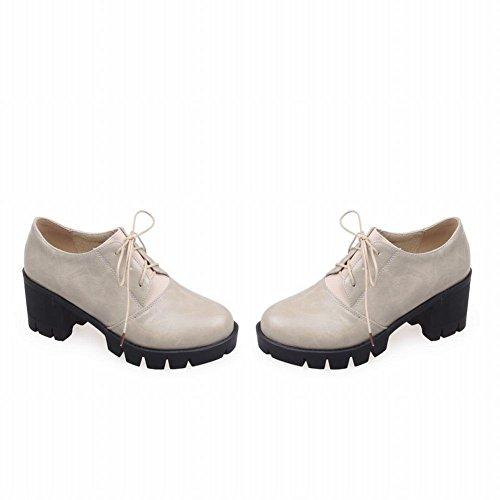 Show Shine Plataforma De Moda Para Mujer Chunky Heel Oxfords Zapatos Beige