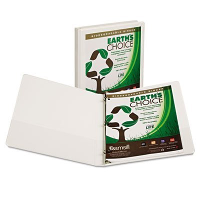6 Pack Earth's Choice Biodegradable Round Ring View Binder, 1/2'' Capacity, White by SAMSILL by Samsill