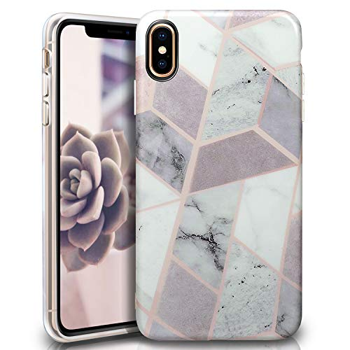 ivencase iPhone Xs Max Case, iPhone Xs Max Cover, Cute Bling White Marble Silicone Matte Flexible Bumper TPU Soft Rubber Phone Case for Apple iPhone Xs Max 6.5 (2018)