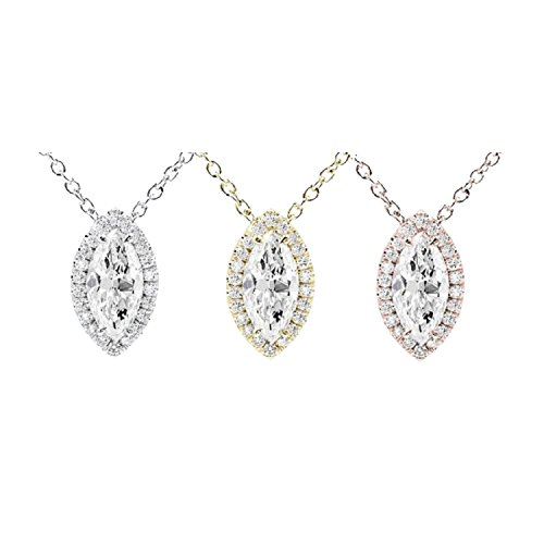 Pendentif diamant coupe marquise Halo