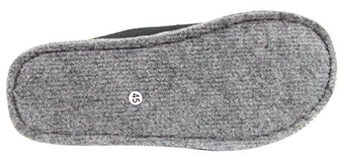 Herren Pantoffel Hausschuhe mit Filzsohle Größe 40 - 45 (43, schwarz)