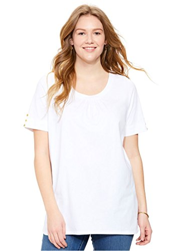 Woman Within Women's Plus Size Shirred Scoop Neck Perfect Button Tee White,4X