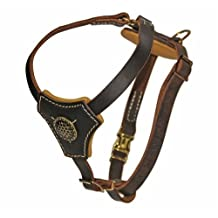 Dean & Tyler ROYAL CLASSIC KNIGHT-BROWN-S Royal Classic Knight Solid Brass Hardware Dog Harness, Brown, Small-Fits Girth Size: 41cm to 58cm