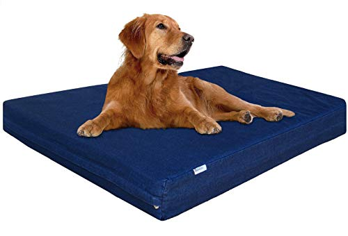 dogbed4less XL Waterproof Orthopedic Memory Foam Dog Bed for Large Dogs, Durable Washable Denim Cover and Extra Pet Bed Cover, Fit 48