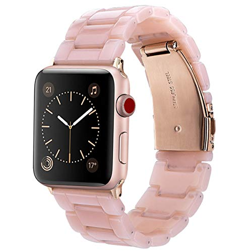 (V-MORO Resin Band Compatible with Apple Watch Band 38mm 40mm Series 4/3/2/1 Women Men with Stainless Steel Buckle, iWatch Replacement Wristband Strap (Pink-Tone, 38mm))