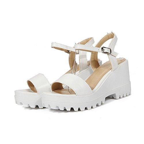 AN Womens Platforms-Sandals Non-Marking Structured Urethane Platforms Sandals DIU00838 White Ir0PD2F