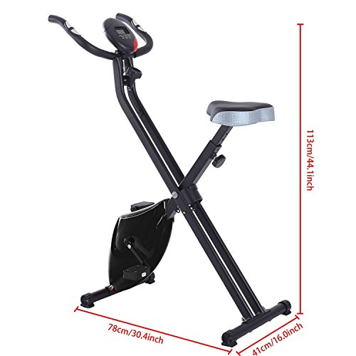 Folding Magnetic Upright Exercise Bike with Hand Pulse Sensors, 5 Tension Levels, Thick Seat & Height Adjustable (US STOCK) (Black)