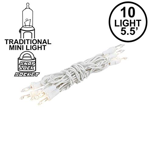 Novelty Lights 10 Light Clear Christmas Craft Mini Light Set, Non-Connectable, White Wire, 4' Long (Christmas 10 Lights Bulb String)