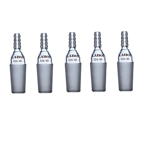 Laboy HMA012603L Glass Straight Inlet Adapter with 24/40 Male Glass Joint and 8 mm Hose Connection Lab Glassware (Pack of 5)