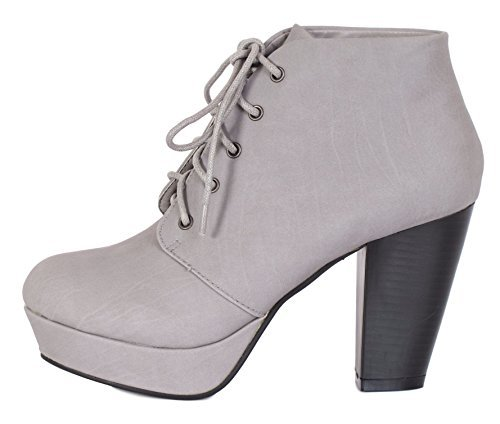 Bella Marie Goldie-11 Ankle Booties Boots, Grey Suede, 6