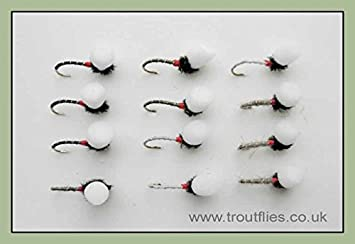 24 Pack trout Fishing Flies 4 Colours Suspender Buzzers Mixed Size 12//14//16