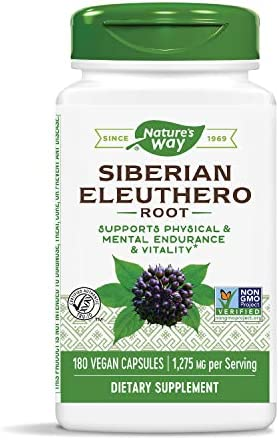 Nature s Way Premium Herbal Siberian Eleuthero, 1,275 mg per serving, 180 Capsules