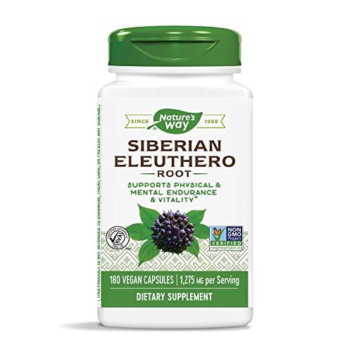 Nature's Way Premium Herbal Siberian Eleuthero 1,275 mg Per Serving, 180 Vegan Capsules (Packaging May Vary)
