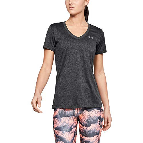 Under Armour Damen Tech Short Sleeve V - Solid atmungsaktives Laufshirt für Frauen, kurzärmliges Trainingsshirt mit loser Passform