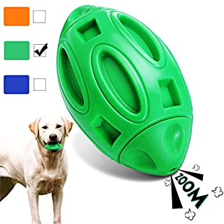 CAVEEN Squeaky Dog Toys for Aggressive Chewers, for Large or Medium Breeds, Durable Nearly Indestructible Dog Toy Ball with Non-Toxic Natural Rubber - Green