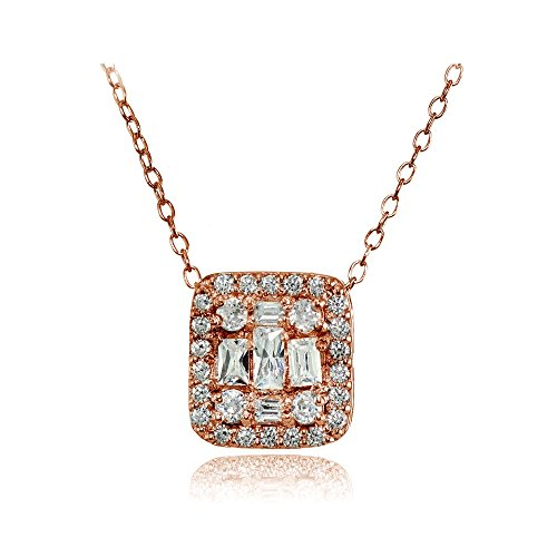 Baguette Round Necklace (Rose Gold Flashed Silver Cubic Zirconia Baguette and Round Cut Square Necklace)