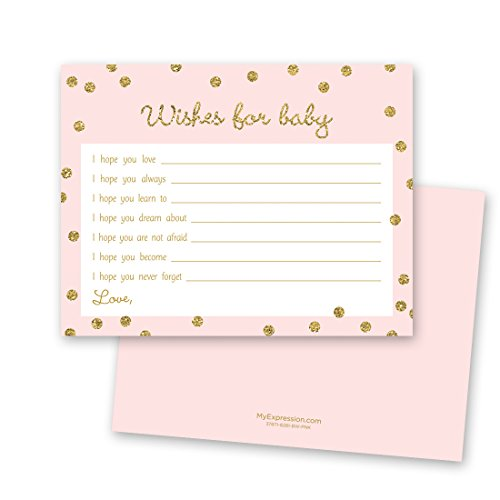 48 Cnt Gold Glitter Graphic Dots Pink Baby Wishes - Pink Wish