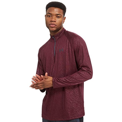 Under Armour Men's UA Tech Emboss 1/4 Zip Long-Sleeve Shirt, Raisin Red, Small