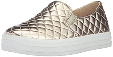 Skecher Street Women's Double up-Quilted Fashion Sneaker, Gold, 5 M US