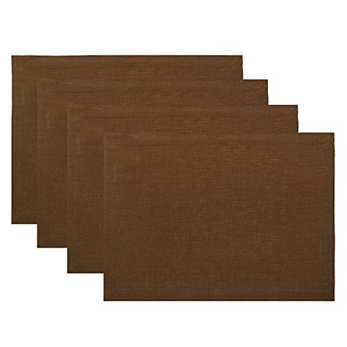 Solino Home Pure Linen Placemats - Brown, 14 x 19 Inch Set of 4 Athena - 100% Pure Linen Natural Fabric - Handcrafted Machine Washable