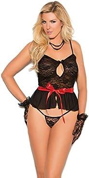 Elegant Moments Flirty Plus Size Keyhole Front Lace Cami Set Lingerie