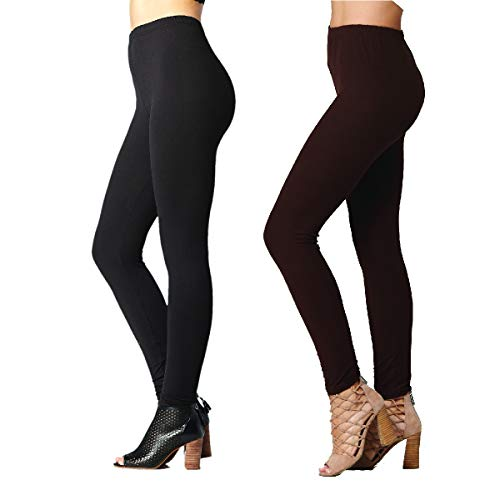 Conceited Ultra Soft High Waisted Leggings for Women - Opaque Full Ankle Length - 2-Pack Black-Brown - One Size (0-10)