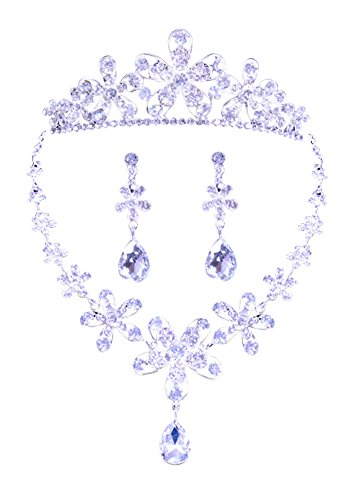 KQA Wedding Necklace Earrings Crown Set Clear Austrian Crystal Silver-Tone (White)