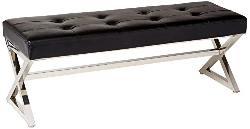 Leather Bench Chrome (Homelegance 4605BK Metal Base Bench, Black)