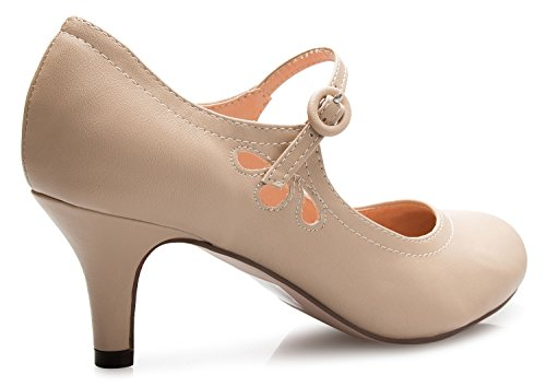 Pu Mary Adorable Shoes Out Toe Kitten Vintage Round Nude Women's Low Retro OLIVIA Cut Jane K Heels Design Pumps Unique Side wAqSRB
