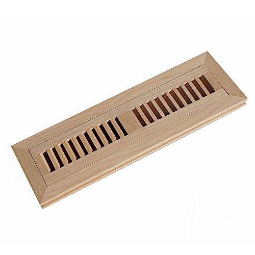 (WELLAND 2 Inch x 12 Inch Red Birch Hardwood Vent Floor Register Flush Mount Unfinished)