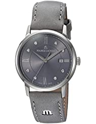 Maurice Lacroix Womens Eliros Swiss Quartz Stainless Steel and Leather Casual Watch, Color:Grey (Model: EL1094...