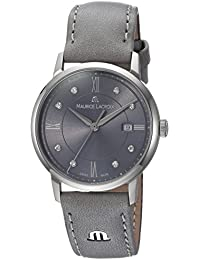 Women's 'Eliros' Swiss Quartz Stainless Steel and Leather Casual Watch, Color Grey (Model: EL1094-SS001-250-1)