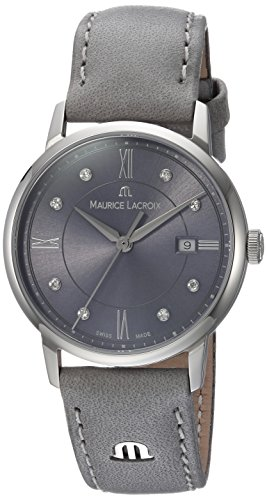 Maurice Lacroix Women's 'Eliros' Swiss Quartz Stainless Steel and Leather Casual Watch, Color:Grey (Model: - Michael Khor