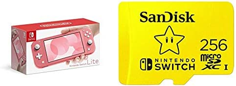 Nintendo Switch Lite - Coral with SanDisk 256GB MicroSDXC UHS-I Card for Nintendo Switch